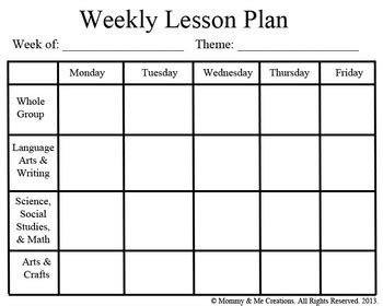 weekly preschool lesson plan template  mommy