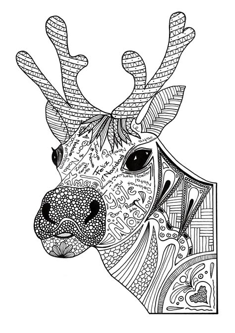 christmas reindeer adult coloring page favecraftscom