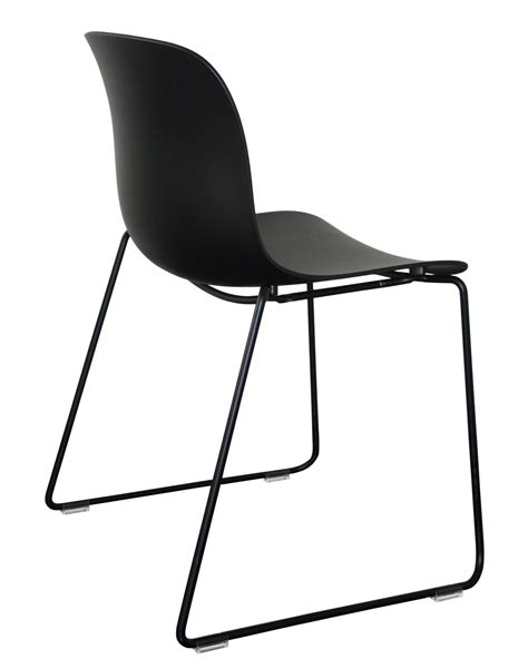 troy outdoor stacking chair polypropylene seat sled black hull black structure by magis