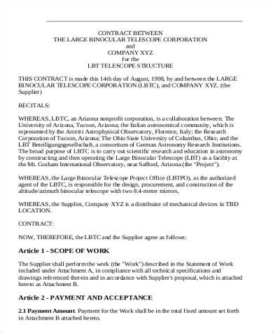 contract agreement template between two 7 sle business agreements between two sle templates