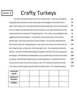 2nd grade thanksgiving fluency passage differentiated by