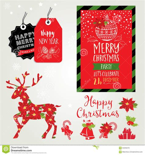 Christmas Party Invitation Holiday Card Stock Vector