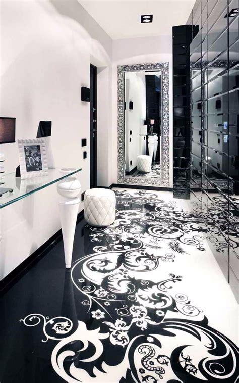classy  elegant black  white flooring design ideas