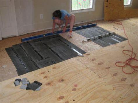 how to install osb subfloor how to level a plywood or osb subfloor using asphalt shingles construction felt one project