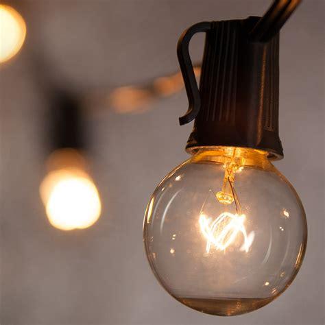 patio lights clear globe string lights    bulbs black wire