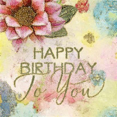 Flowers Birthday Happy Watercolor Pretty Sparkling 123greetings