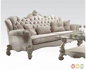Versailles formal bone white velvet sofa with ornate for White velvet sectional sofa