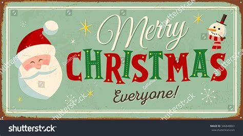 Vintage Metal Sign Merry Christmas Everyone Stock Vector