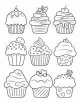 Cupcake Coloring Printable Pdf sketch template