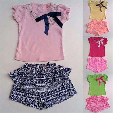jual promo baju setelan anak bayi perempuan kaos pita celana pendek batik di lapak little