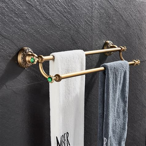 luxury antique brass bathroom towel rack double towel bars