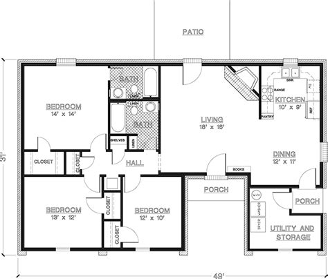 ranch style house plans  sq ft open floor plan