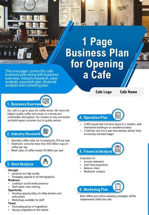 Established coffee houses like starbucks and bo's coffee indeed are some of those which have penetrated the global market through their significant business strategies. 1 Page Business Plan For Opening A Cafe Presentation Report Infographic PPT PDF Document ...