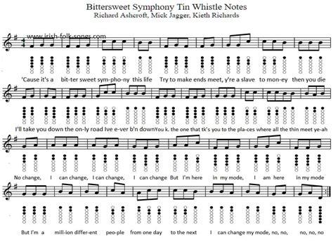 bittersweet symphony tin whistle sheet  irish folk