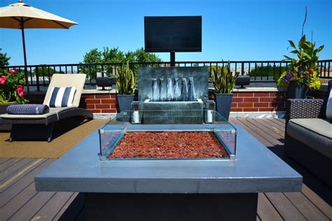 modern deck with pit by chicago roof deck garden