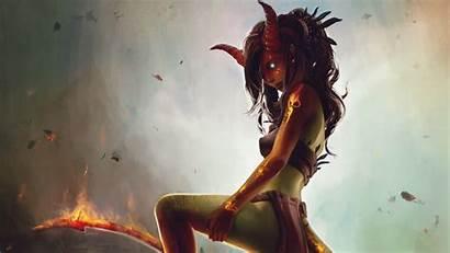 Demon Horns Fire Tattoo Eyes Wallpapers Fantasy