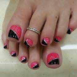 Pink and black toe nail art designs with glitter g