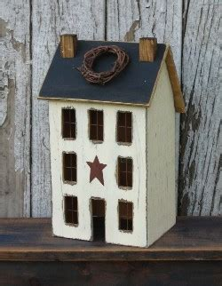 Lighted Country Houses Primitive Saltbox