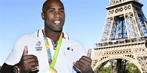 """French judoka teddy riner was a little relieved to suffer his first lost in nearly a decade. Slogan de Paris 2024 : """"On veut des Jeux universels ..."""