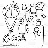 Sewing Items Drawing Vector Clipart Machine Tools Cartoon Line Drawings Embroidery Istock Istockphoto Clip Coloring Pages Craft Illustration Patterns Variety sketch template