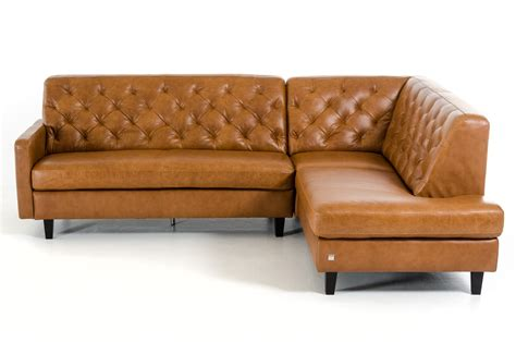 divani casa kyler modern brown leather sectional sofa