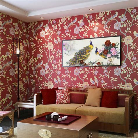 wallpapers designs for home interiors birds trees branch embossed textured non woven wallpaper
