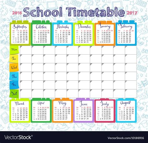 Template school timetable 2016 2017 Royalty Free Vector