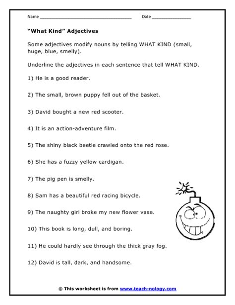 types of adjectives worksheet free worksheets library