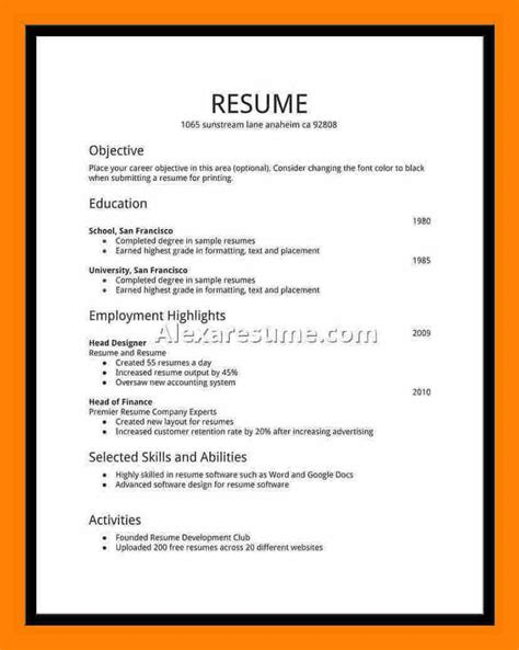 20554 employment resume exles 6 student resumes for new tech timeline