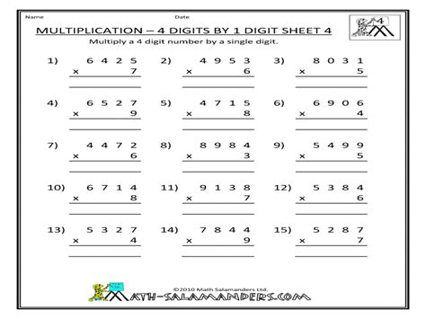 multiplication 4 digits by 1 digit worksheet for 2nd 3rd grade lesson planet