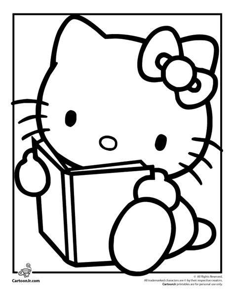 kitty reading coloring page woo jr kids activities