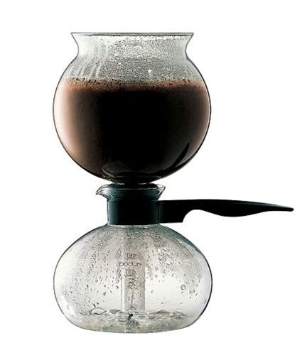 It's like an upside down french press, where gravity pulls water through the coffee instead of forcing it through. Bodum Pebo (Santos) Vacuum Siphon Coffee Maker | Espresso Zone