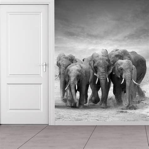 elephant herd wall mural wallpaper