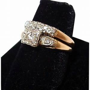 1940s yellow gold wedding ring set with diamonds With 1940s wedding rings