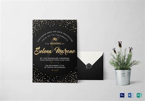 black  gold wedding invitation card design template