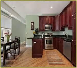 dark cherry kitchen cabinets wall color home design ideas
