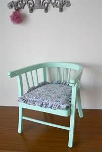 Chaise Vert D Eau : chaise enfant vintage coloris vert d 39 eau coussin volant liberty f licit child chair de ~ Teatrodelosmanantiales.com Idées de Décoration