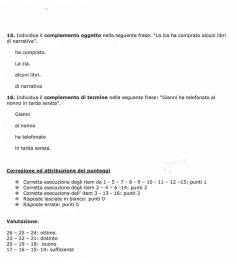 Test Ingresso Prima Media Grammatica by Prova Di Verifica Di Italiano Scuola Primaria Verifica Di