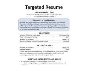 targeted resume process
