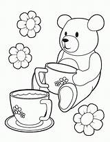 Coloring Tea Teddy Printable Picnic Colouring Bears Bear Template Birthday Teaparty Parties Coloringhome sketch template
