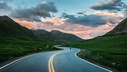 Curvy Road Walking Mountain Nature Wallpapers Background