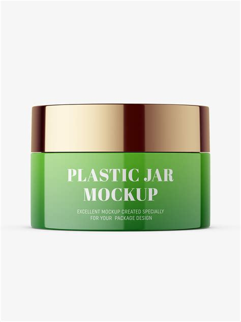 Sample design is not included in the download file. Glossy cosmetic jar with metallic cap mockup - Smarty Mockups