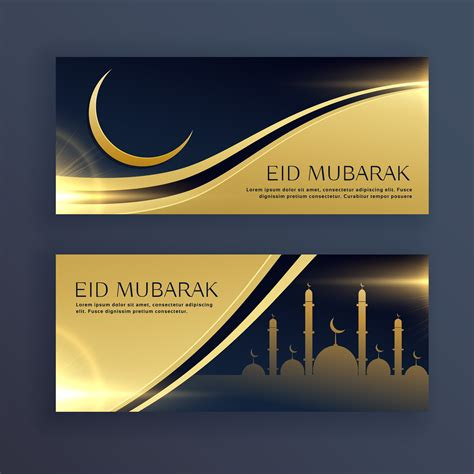 set  eid mubarak festival banners   vector