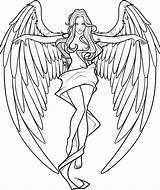Coloring Pages Demons Angels Angel Adults Printable Getcolorings sketch template