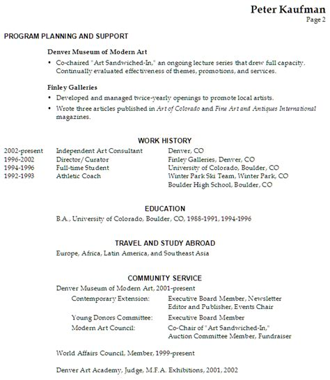 resume executive director performing arts susan