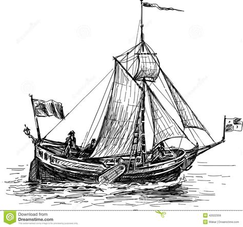 Sketch Of The Sailing Boat Stock Vector Image 42022359