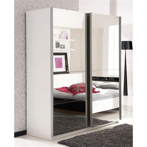 armoire porte coulissante miroir armoire 2 portes coulissantes miroirs l170xp60xh203 cm aurore blanc