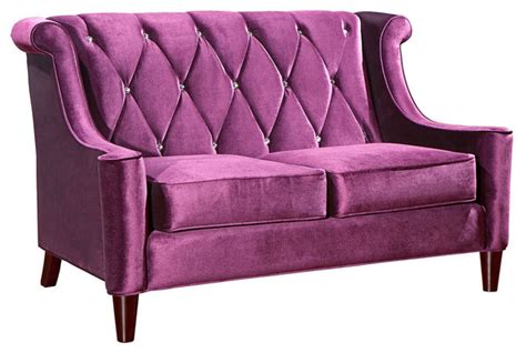 Barrister Loveseat by Barrister Loveseat In Purple Velvet With Buttons