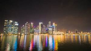 Modern Cityscape At Night. Singapore. Time Lapse. High ...