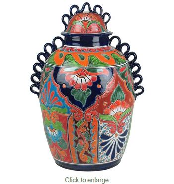 Large Vase With Lid by Large Handled Talavera Vase With Lid